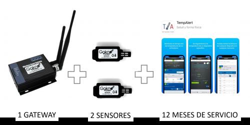 2 sensores con 12 Meses de monitoreo, uso del portal, usuarios y reportes ilimitados