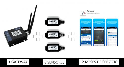 3 sensores con 12 Meses de monitoreo, uso del portal, usuarios y reportes ilimitados
