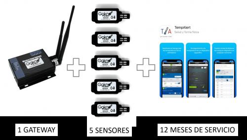 5 sensores con 12 Meses de monitoreo, uso del portal, usuarios y reportes ilimitados